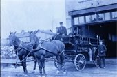 Pair of City fire horses and Kephart fire engine