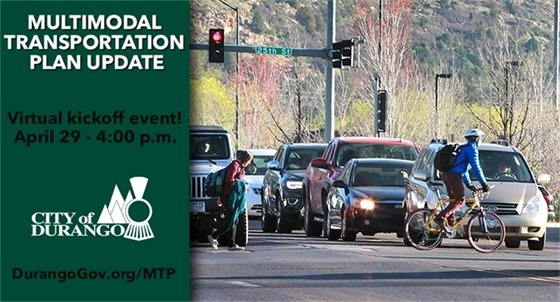 Graphic showing a pedestrian and biker crossing. Virtual kickoff even April 29 4-6 PM