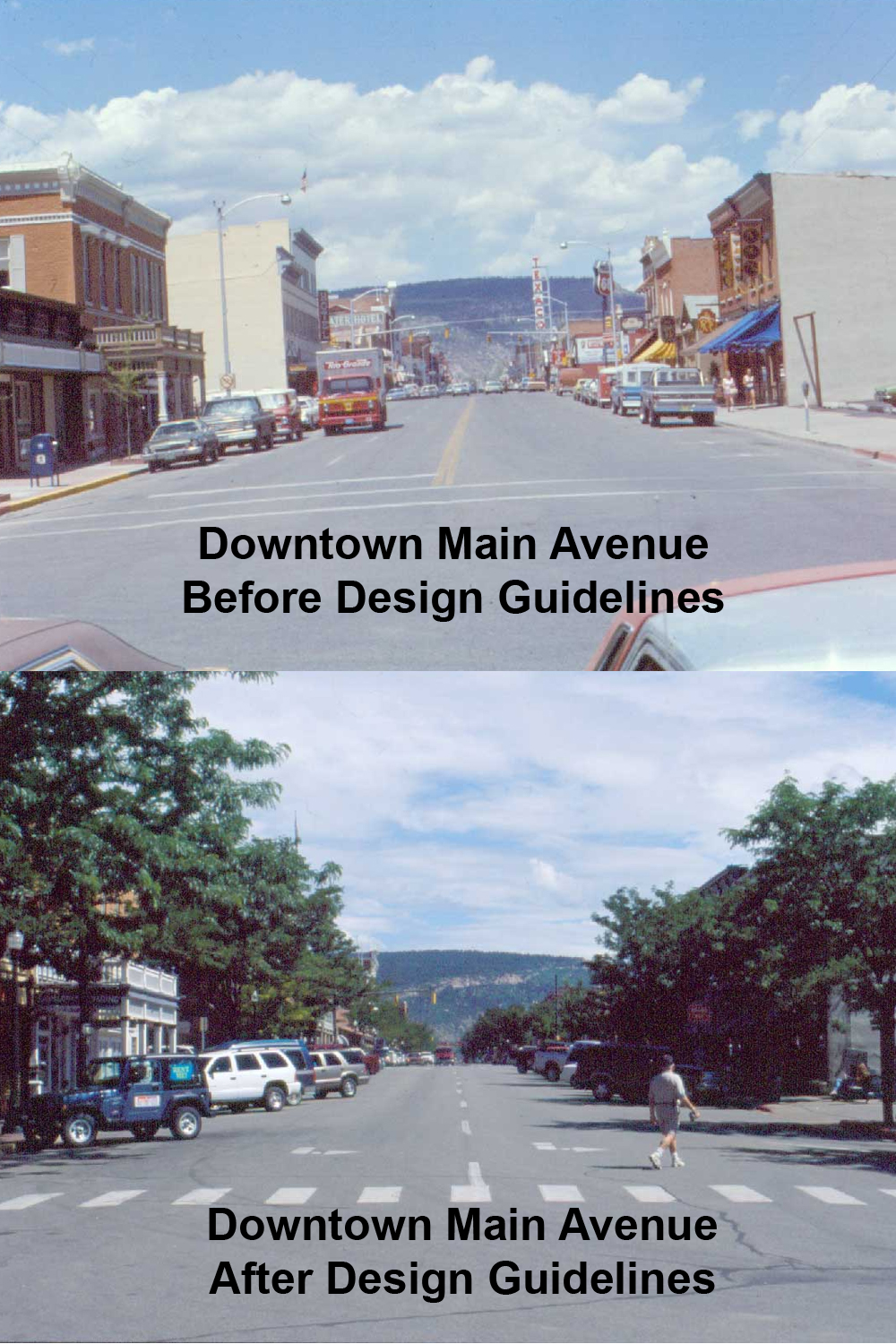 Downtown Main Avenue Before Design Guidelines and After Design Guidelines Opens in new window