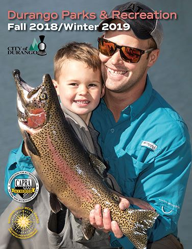 Durango Parks and Recreation Enrichment Guide Cover Fall 2018 Man and Child Holding a Fish