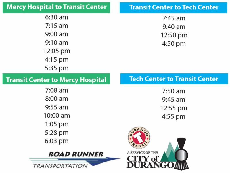 Road Runner Schedule times Mercy Hospital to Transit Center departure times 6:30am, 7:15am, 9:00am,
