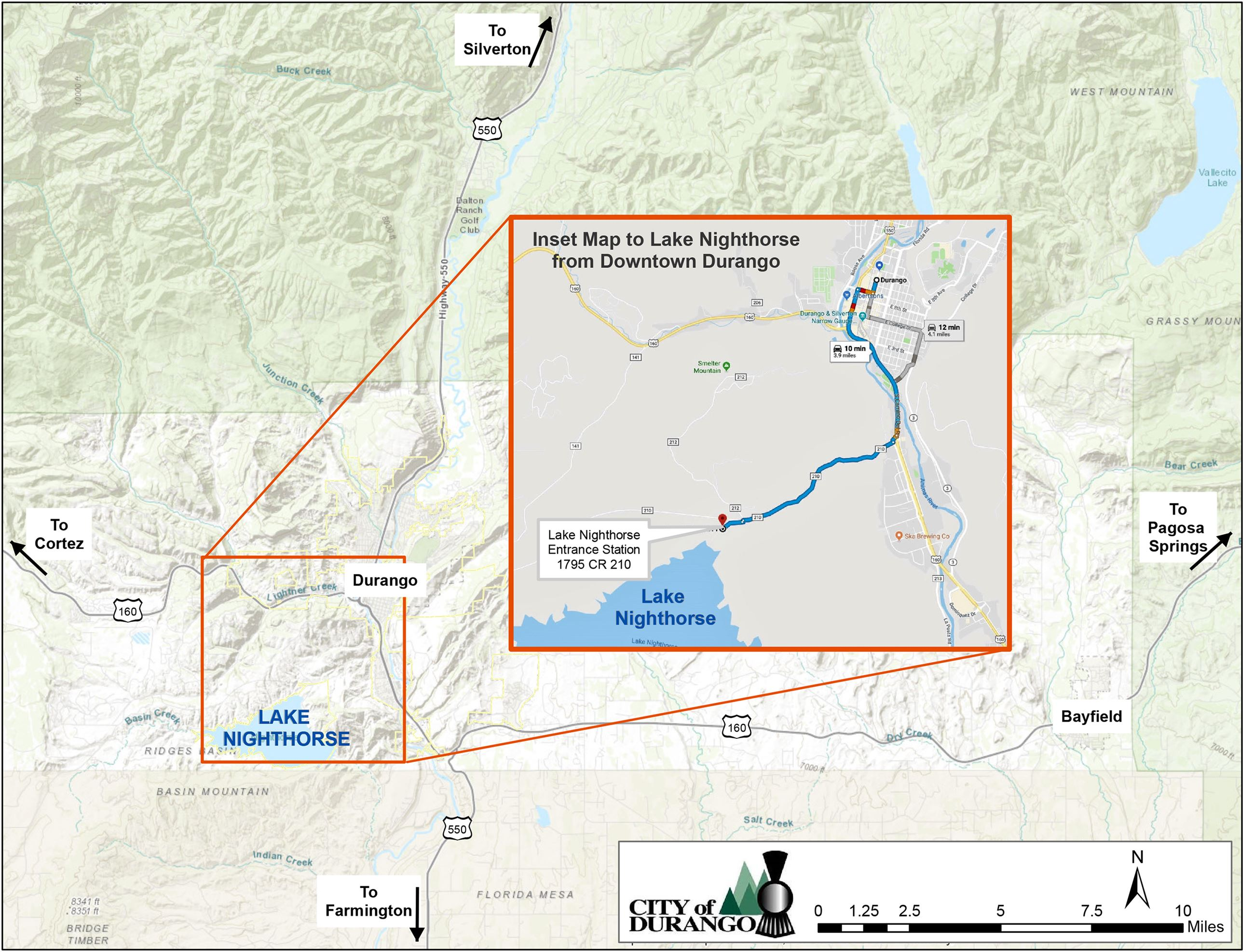 Directions to Lake Nighthorse from Downtown Durango