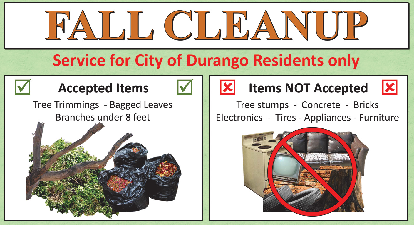 Fall Cleanup items accepted and not accepted