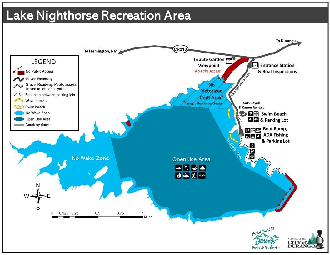 Revised Lake Nighthorse Recreation Map - With Swim Beach 8-7-2020