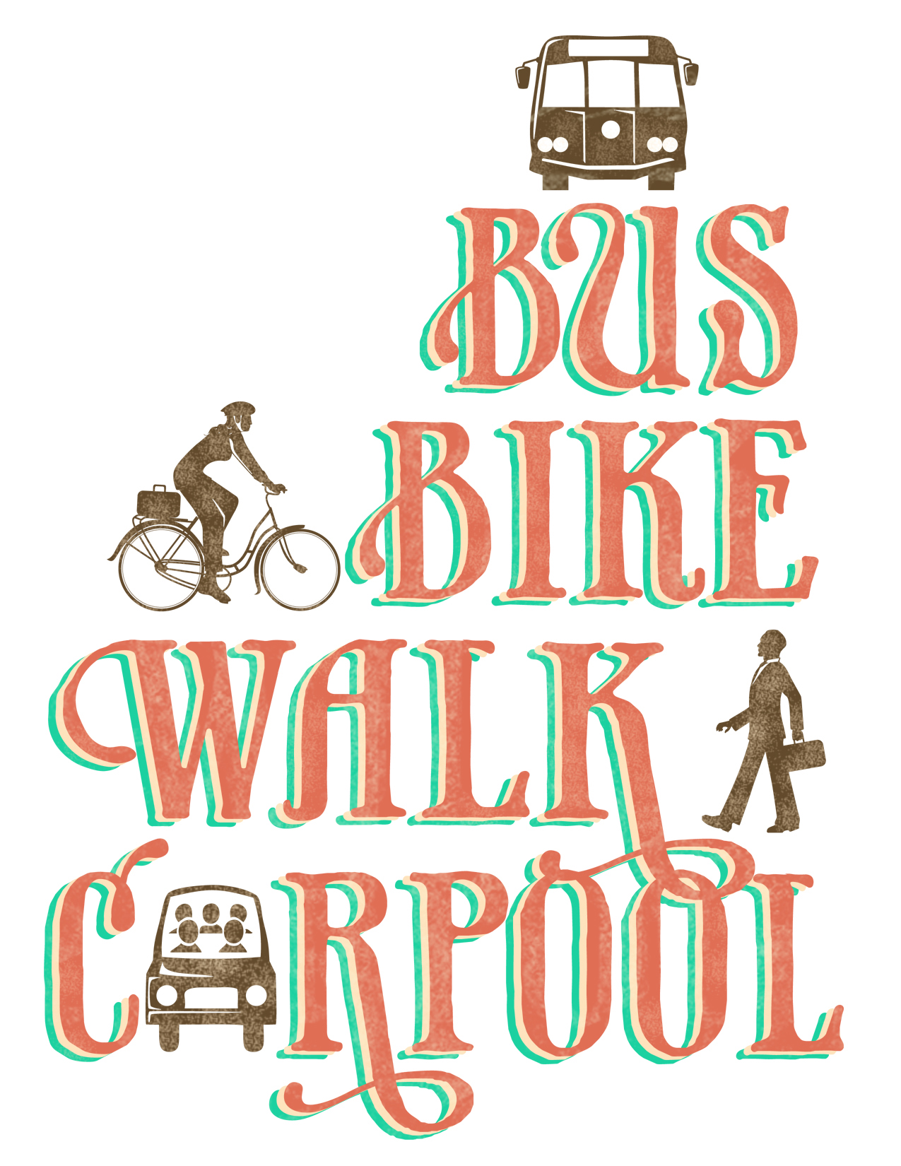 Bus, Bike, Walk, Carpool graphic
