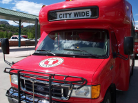 Red City Wide bus from front end